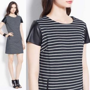 Ann Taylor Dress with faux leather sleeves